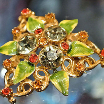 1960s 60s Mid Century Brooch Rhinestone Brooch Glass Rhinestone Crystals Enamel Enameled Flower Floral Christmas NYE Party Wedding Jewelry