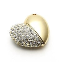 Golden Heart Shape Crystal Jewelry USB Flash Memory Drive Necklace Pendant - 4GB
