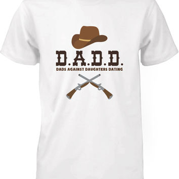 Men's Funny Graphic Statement White T-shirt - Dads Against Daughters Dating