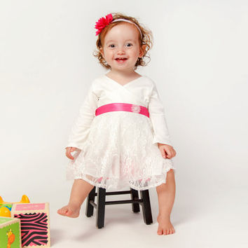 White Lace dress for babies - white party dress for baby - first birthday dress - shower baby dress