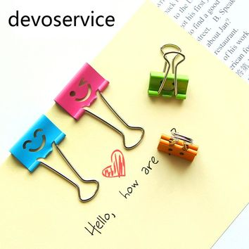Kawaii Cute Smile Metal Binder Clips Paper Clips 19MM Learning Bookmark Memo Clip School Supplies Stationery Office Accessories