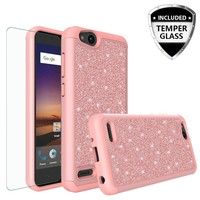 ZTE Tempo X Case, Tempo Go, Blade Vantage, Avid 4, ZFive C, ZFive G, N9137, Z557BL, Z558VL, Glitter Bling Heavy Duty Shock Proof Hybrid Cover w/ HD Screen Protector W/Temper Glass - Rose Gold
