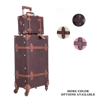 "CO-Z Premium Vintage Luggage Set 24"" TSA Locks Wheel Suitcase with 12"" Hand Bag Brown '"