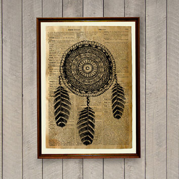 Native American decor Dreamcatcher poster Tribal print