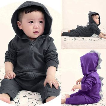 Infant Toddler Baby Girls Boys Dinosaur Hoodie Romper Zip Clothes Jumpsuit Back zipper blouse Dropshipping#30