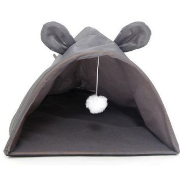 Soft Mouse Shape Cat House With Hanging Fuzzy Toy