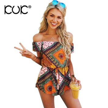Kuk Jumpsuit Short Femme Bohemian Boho Hippie Beach Wear Off Shoulder Overalls Summer Romper Playsuit Women A035