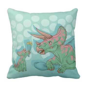 Triceratops Giving Flowers Throw Pillow