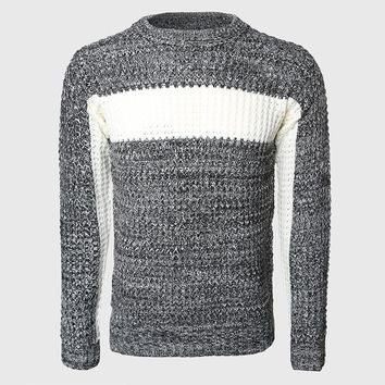 Men Thick Patchwork Sweaters Male Cable Knit Pullovers Warmer Color Block Slim Sweater O Neck Korean Stylish Pattern