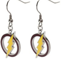 Women's Stainless Steel With Red Epoxy And Hot Yellow Lightning Bolt Dangle Earrings