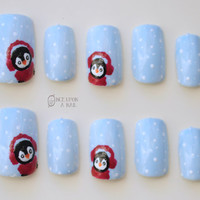 Winter Penguins Hand Painted Fake Nails
