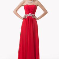 Red Strapless Beaded Empire Waist Maxi Evening Dress