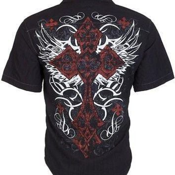 Licensed Official Eighty Eight AFFLICTION Mens BUTTON DOWN Shirt BRAVE Express Roar UFC Jeans $48