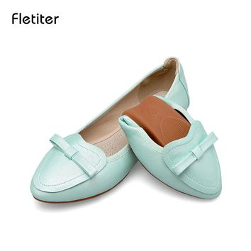 Fletiter Women Flat Shoes 2018 New Bow Tie Leather Casual Shoes for Woman Soft Ballet Pregnant women Flats Loafers Single Shoes