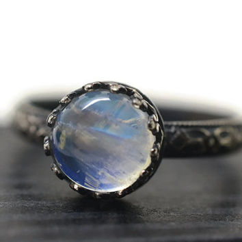 Victorian Blue Moonstone Ring, Oxidized Silver Gothic Floral Patterned Band, Artisan Made Natural Moonstone Crystal Jewelry