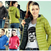 Fashion Women Thin Slim Down Coat Warm Jacket Winter Overcoat Parka Candy Color = 1929977476