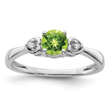 Sterling Silver Round Genuine Peridot With Diamond Accented Hearts Ring