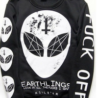 F*ck Off Pastel Goth Satanic Alien Long Sleeve Shirt