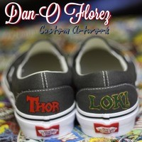 Custom VANS Thor and Loki inspired artwork. shoes included from Dan-O Florez Custom Artwork