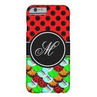 Personalize Monogram Butterfly Ladybug Rainbow Barely There iPhone 6 Case
