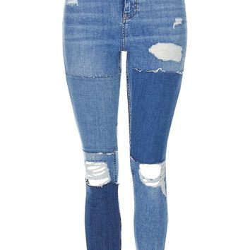 MOTO Panel Ripped Jamie Jeans | Topshop
