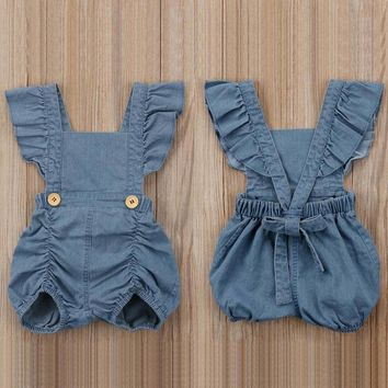 Ruffles Baby Onesuit Denim Jeans Summer Baby Girl Clothes Backless Infant Jumpsuit Costume Clothing Short Sleeve Cotton Romper