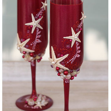 Wedding Champagne Glasses Hand Painted Set. Burgundy Wedding Champagne Glasses Set