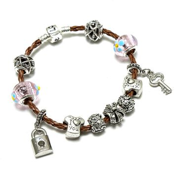 Romantic I Love You DIY Charm Bracelet Love Heart Key and Lock Crown Pandora Bracelet for Women Jewelry Christmas Gift