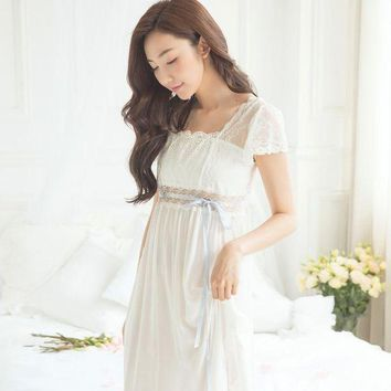 IKCKU62 Lace Royal Sweet Princess Nightgowns 2017 Summer Short-Sleeved Cotton Long Nightdress Elegant White Lady Sleeping Dress