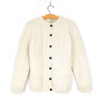 Sz L Vintage Irish Fisherman Cardigan - Women's 80s Gaeltarra Cream Wool Cable Knit Sweater - Ivory Chunky Knit Button Up Cardi Large