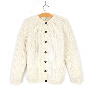01335f4d982cab Sz L Vintage Irish Fisherman Cardigan - Women's 80s Gaeltarra Cr