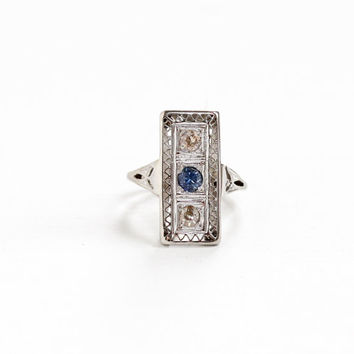 Antique 10K White Gold Blue Sapphire & Diamond Filigree Shield Ring - Vintage Art Deco 1920s 1930s Size 3 Fine Gemstone Engagement Jewelry