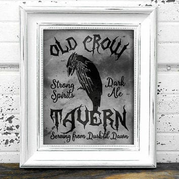 Old Crow Tavern Sign// Bar Sign // Instant Download A4 Printable Halloween Old Crow Tavern Sign // Halloween Decor // Halloween Print