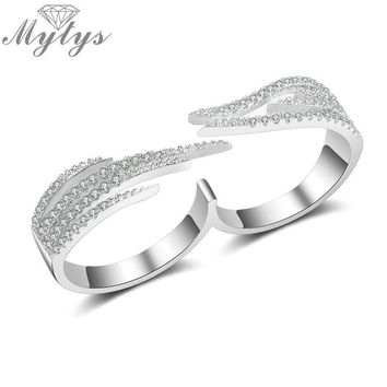 Mytys Double Finger Ring Pave Setting Zircon Fashion Jewelry size 6 7 8 Adjustable Open Cuff Two Finger Ring For Women R2012
