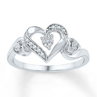 Diamond Heart Ring 1/20 ct tw Round-cut Sterling Silver