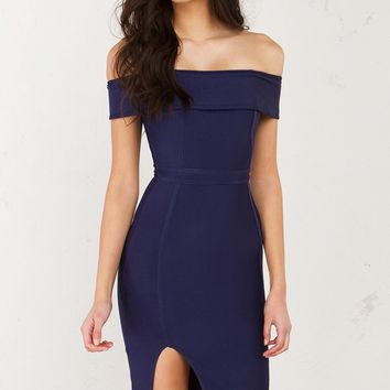 Off The Shoulder BodyCon Dress in Hunter Green, Dark Mauve and Navy