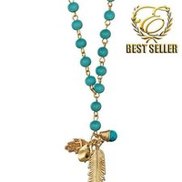 N073 - Ettika Feather Turquoise Disc & Hamsa Rosary Necklace
