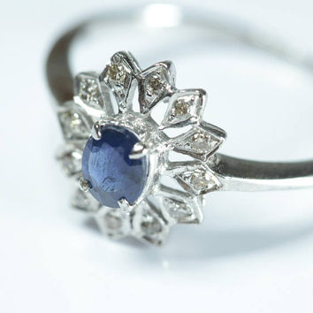 Silver Sterling Natural Sapphire & Diamond Ring. 925 Silver Purity. Astonishing and Attractive Design.