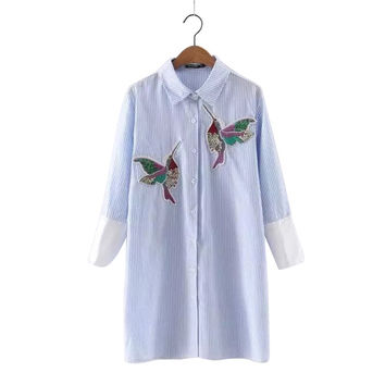 NRB115  2016 Fashion Women Mini Dresses Striped Bird Embroidery Turn-down Collar Three Quarter Sleeve Causal Brand Vestidos