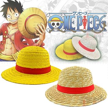 Classic Memory One Piece Luffy Japanese Anime Cosplay Straw Hat Boater Beach Hat Cartoon Cap Halloween Gift Free Shipping
