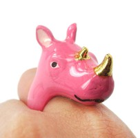 Adorable Pink Rhino Rhinoceros Shaped Enamel Animal Ring in US Size 6 and 7 | Limited Edition
