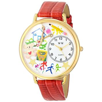 SheilaShrubs.com: Unisex Preschool Teacher Red Leather Watch G-0640003 by Whimsical Watches: Watches