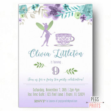 Fairy Tea Party Invitation - Fairy Birthday Invitation - Fairy Garden Invite - Floral Birthday Invitation PRINTABLE - Fairy Party Invite