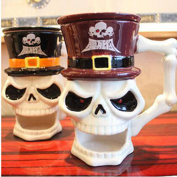 450ml Skull  mugs Handmade Creative Ceramic coffee mugs Water Cups Home  Drinkware Unique Gift