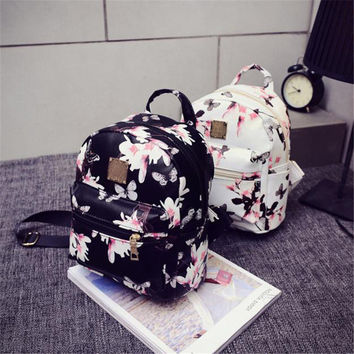 Women's Backpack Hot Sale Fashion Causal Floral Printing Backpacks PU Leather Backpack For Teenagers Girls Mochilas MujerBolas