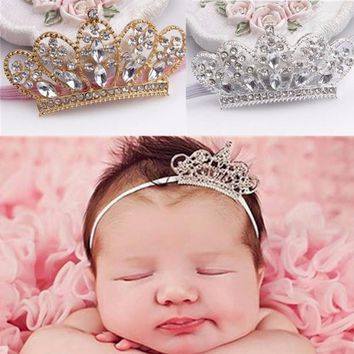 Cute Toddler Gifts Costume Headwear Hair Jewelry Crystal Crown Flowers Stretch Elastic Headbands