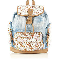 Light Blue Denim Crochet Backpack