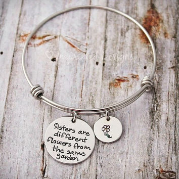 Alex And Ani Style Bracelet - Sisters Are Different Flowers From The Same Garden - Sisters Bracelet - Adjustable - Silver Bangle - Cousins