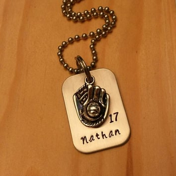 Hand Stamped Baseball Necklace - Baseball Necklace - Baseball Mom Necklace - Baseball Team Gift - Personalized Necklace