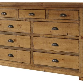 Willow Casual Drawer Dresser And Mirror Distressed Pine